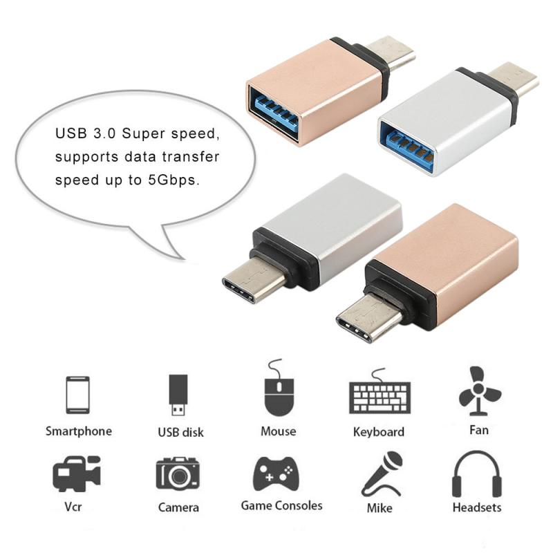 1pcs Al Alloy USB-C Type C Male To USB 3.0 Female OTG Data Sync Adapter Reversible Metal Head Adapter OTG Data Sync