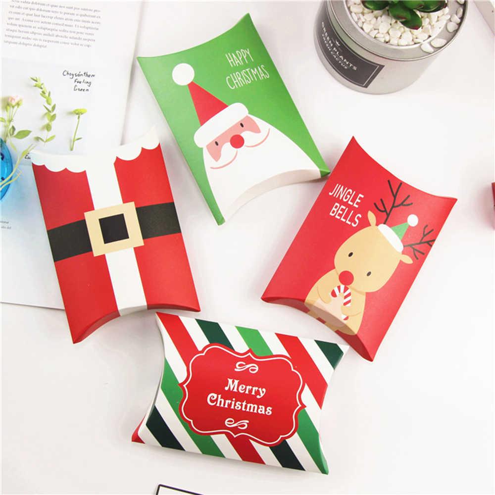 5 sztuk tektury na prezent, z papieru siarczanowego torba kształt poduszki pudełko papierowe pudełka na cukierki prezent gwiazdkowy etui choinka z łosiem zaopatrzenie firm