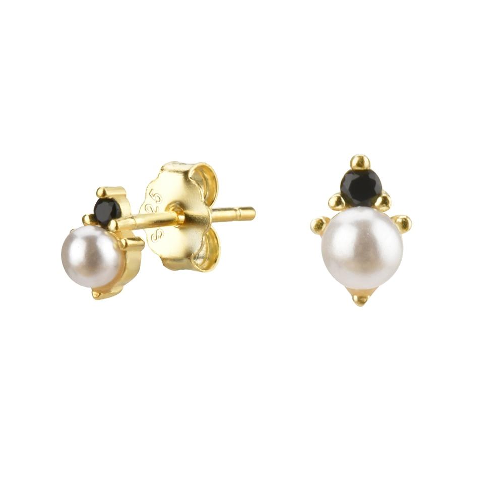 ANDYWEN 925 Sterling Silver Mini Pearl Cluster Stud Earring Luxury Clear CZ Gold Luxury Valentiens Gift Women Jewelry