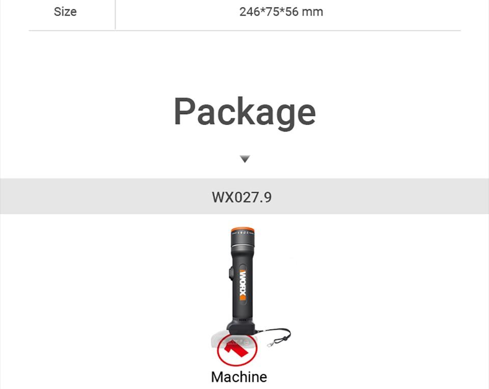 WORX 20V LED Light Portable Lanterns WX027 Rechargeable Flashlights LED light Desk Lamp Outdoor lamps for SOS flashlight Lantern 22