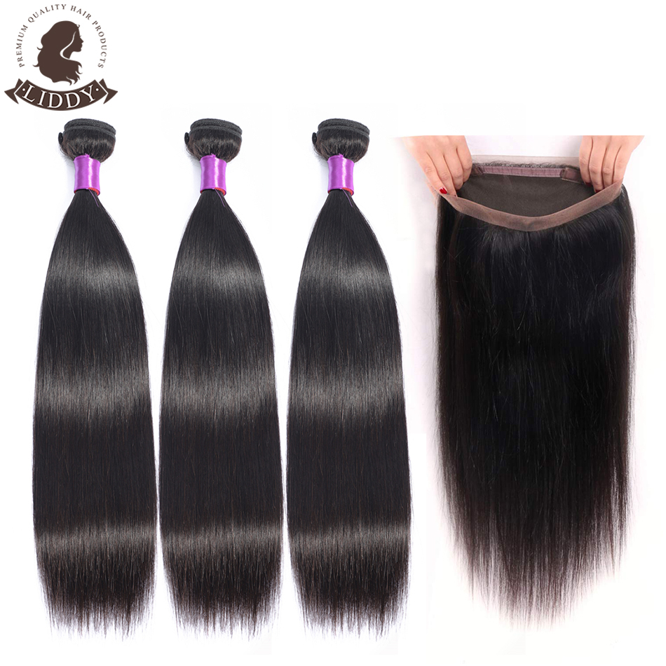 Liddy Bundles With 360 Lace Frontal Brazilian Straight Hair 3 Bundles With Frontal 100% Human Hair Natural Color Non-remy Hair