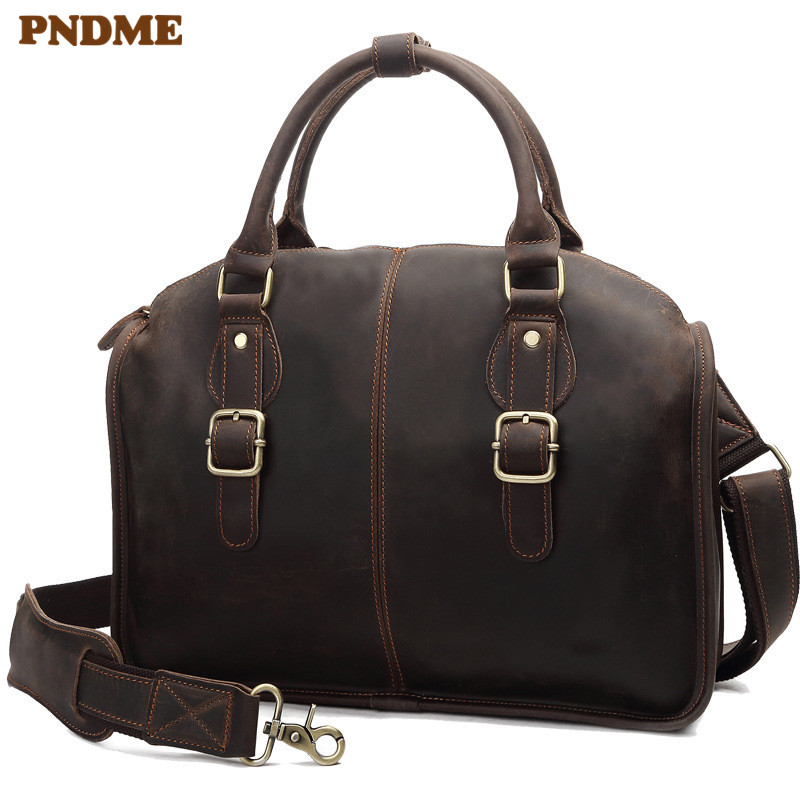 PNDME Vintage Crazy Horse Cowhide Men's Briefcase Casual Business Designer High Quality Genuine Leather Laptop Messenger Bags