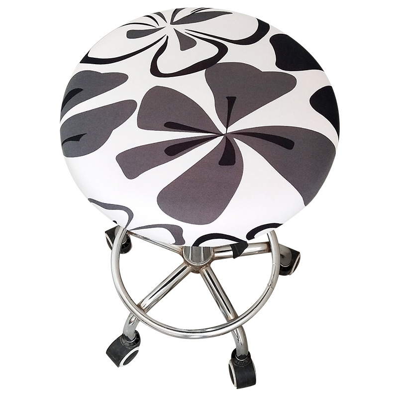 Round Chair Cover Stretch Polyester Stool Seat Cover Cushions Round Home Printed