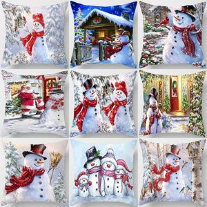 1Pcs Red Christmas Snowman Tree Pattern 45*45cm Polyester Cushion Cover Decorative Sofa Home Car Throw Decor Pillowcover 41008