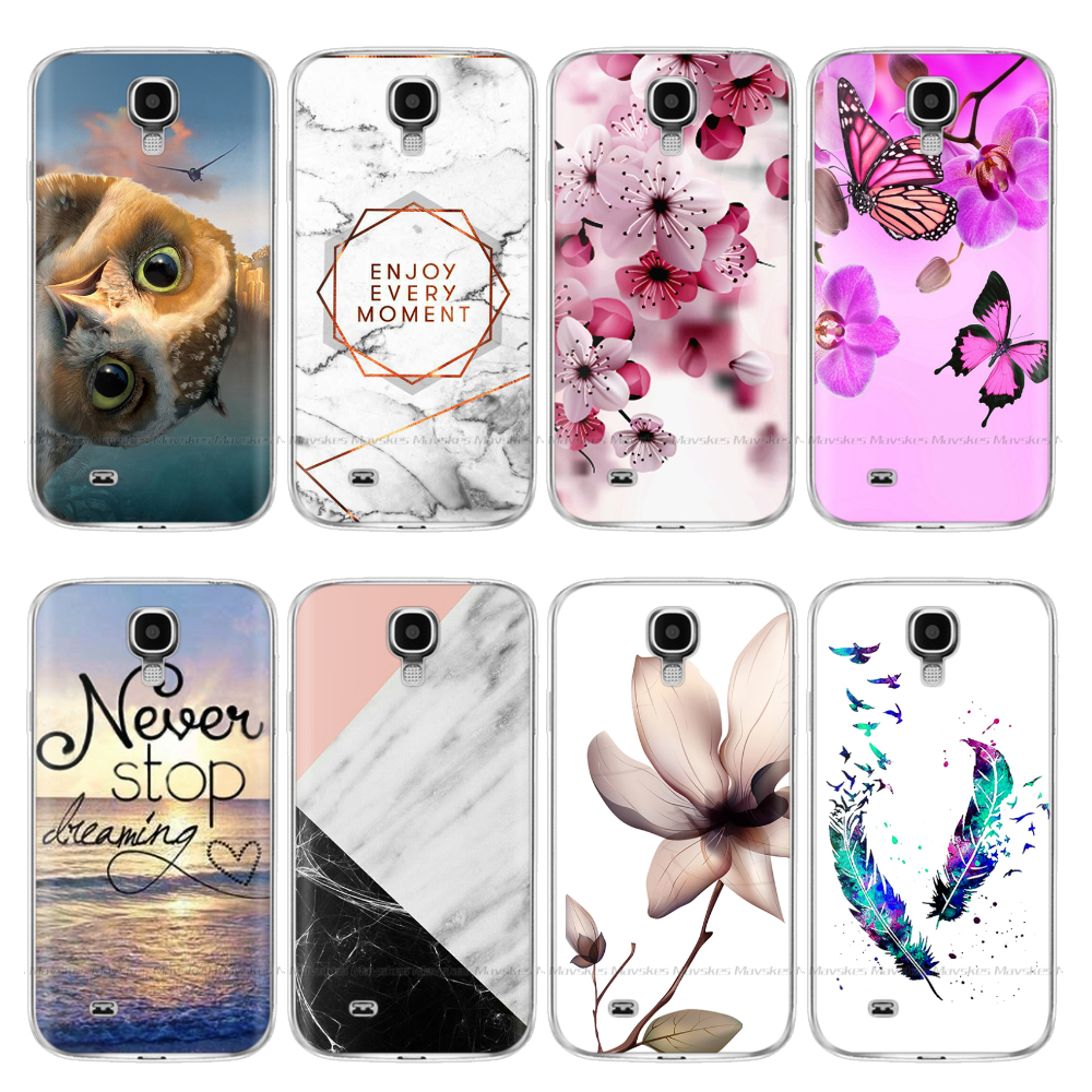 Silicon Case For Samsung S4 Case I9500 Soft TPU Phone Case For Samsung Galaxy S4 Mini I9190 Cases Flower Back Cover Coque Bumper