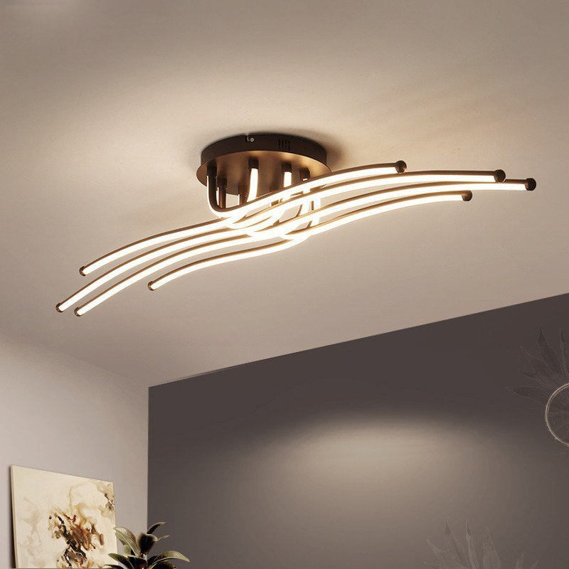 Современная светодиодная люстра, алюминиевые светильники для гостиной, спальни, дома, потолочные светильники, люстры, дистанционное