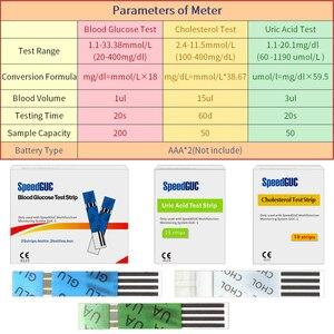Image 5 - 3in1多機能コレステロール尿酸血糖計の血糖計キット糖尿病痛風テスター血糖モニターテストストリップ
