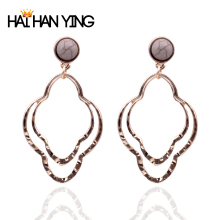New women's stone geometric earrings round old gold Drop earrings fashion alloy jewelry statement2019 personality earrings
