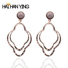 New women's stone geometric earrings round old gold Drop earrings fashion alloy jewelry statement2019 personality earrings