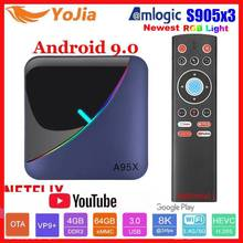 Luz rgb amlogic s905x3 smart tv caixa android 9.0 4gb ram 64gb rom a95x f3 max suporte 8k flex media player ota duplo wifi 2/16g