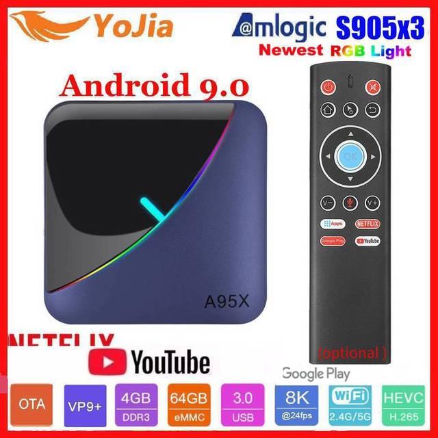 Luz rgb amlogic s905x3 smart tv caixa android 9.0 4gb ram 64gb rom a95x f3 max suporte 8k flex media player ota duplo wifi 2/16g