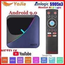 RGB ضوء Amlogic S905X3 مربع التلفزيون الذكية أندرويد 9.0 4GB RAM 64GB ROM A95X F3 ماكس دعم 8K فليكس مشغل الوسائط OTA المزدوج واي فاي 2/16G