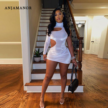 ANJAMANOR White Velour Bodycon Dresses for Women Sexy Clubwear Birthday Party Hollow Out One Long Sleeve Mini Dress D96-BB20