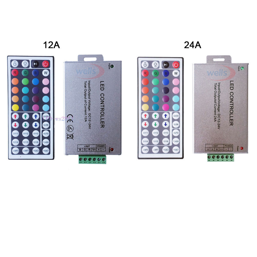 Free Shipping DC12V-24V 12A 24A 44key IR Wireles Remote Led RGB Controller 44key IR Dimmer For 3528 5050 RGB Led Strip Lights