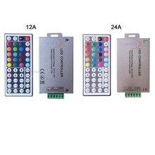 Frete grátis DC12V 24V 12a 24a 44key ir wireles remoto led rgb controlador 44key ir dimmer para 3528 5050 rgb led luzes de tira