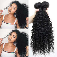 Profundo mechones de pelo rizado con cierre, pelo humano brasileño Remy, pelo negro Natural para mujeres, productos de mechones Dolago