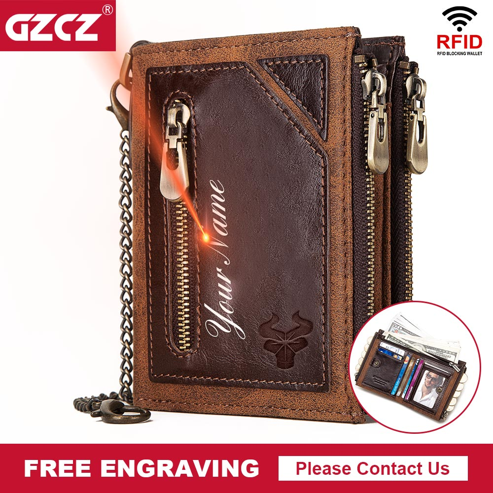GZCZ 100% натуральная кожа Rfid кошелек мужской кошелек для монет Короткий Мужской кошелек с цепочкой для денег мужской кошелек с карманом Бесплатная гравировка Кошельки      АлиЭкспресс