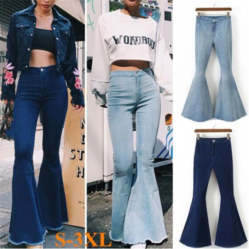Summer women's jeans sexy slim high waist solid color big pants horn burnt pants Women jeans stretch jeans