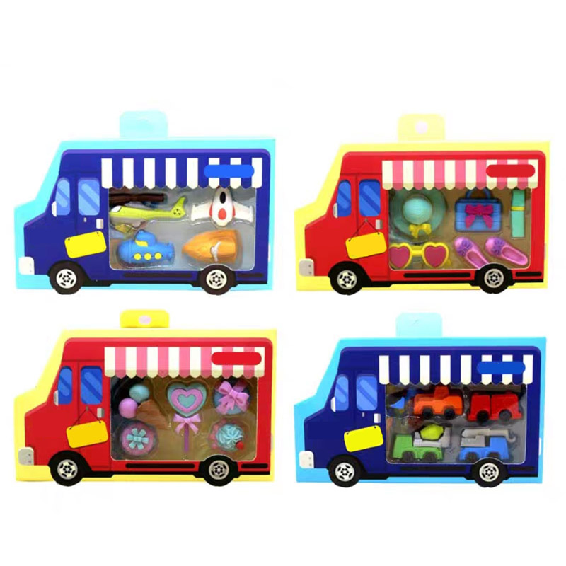 4 Boxes Per Lot Dessert Ice Cream Truck  Eraser New Korean Eraser For School Student Stationery Office Polishing Eraser