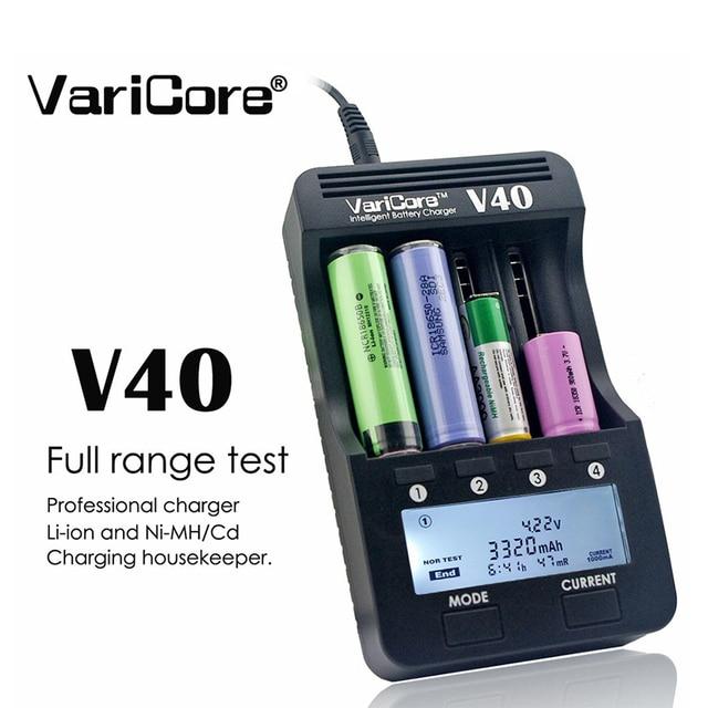VariCore cargador de batería LCD V40, 3,7 V, 18650, 26650, 16340, 14500, 18350, batería de litio AA/AAA, Ni MH