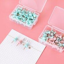 50pcs/box Colored Push Pins Thumb Thumbtack Board Pins Drawing Photo Wall Studs Office School Supplies Green Pink