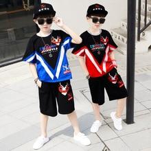 цена на Boys Clothing Set Baby Boy Clothes New Summer Kids Clothing Sets Stripe Colorful T-Shirt + Pants 2Pcs Boys Suit 11 12 13 14 Year