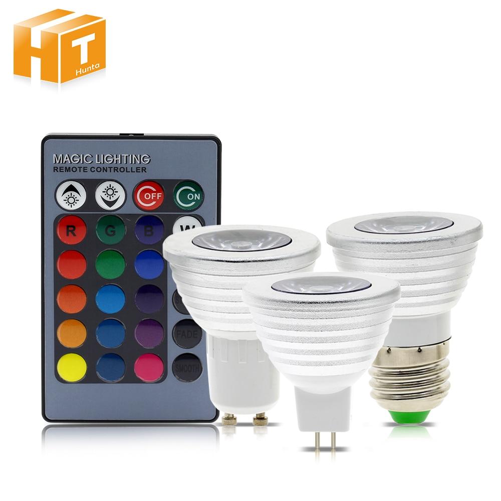RGB LED Spotlight AC85-265V 3W E27 GU10 MR16 RGB LED Light With 24Key Remote Controller.