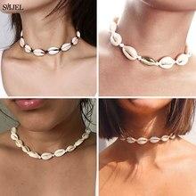 Collier bohème en coquillage naturel pour femmes, ras du cou en corde noire, bijoux de plage, cadeaux d'été