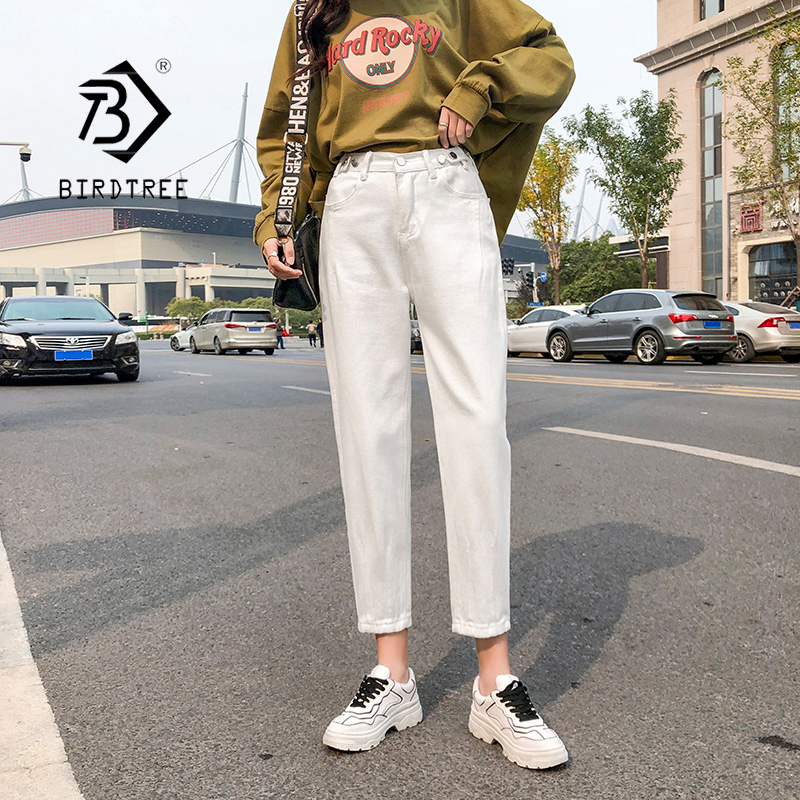 2020 Spring New Vintage High Waist Slouchy White Cotton Mom Jeans Denim Harem Pants For Women Autumn Casual Ripped Trousers B016