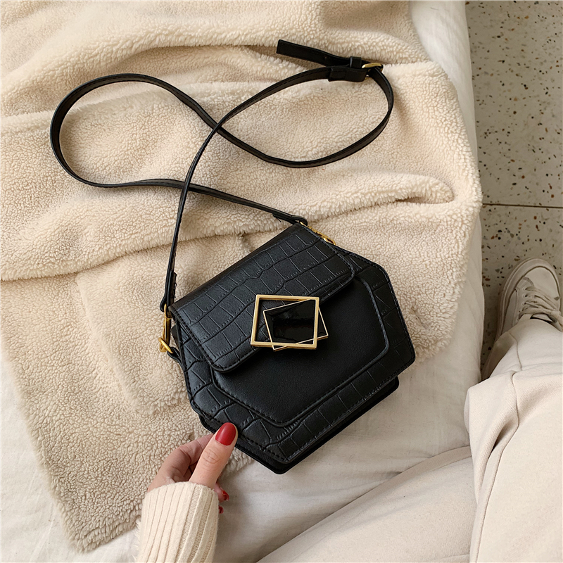 Stone pattern shoulder messenger bag 2020 winter new women's bag fashion casual small bag mobile phone bag