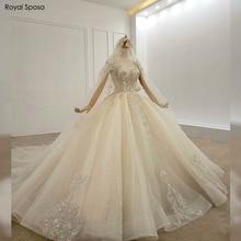 مخصص جديد تصميم الدانتيل طويلة قطار الكرة ثوب الزفاف مع طويلة الأكمام 2019