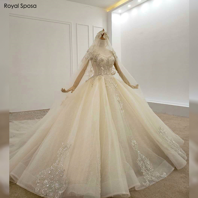 2020 Royal wedding dress off the shoulder sleeves with long veil real work
