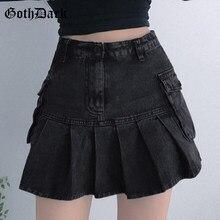 Faldas vaqueras góticas de plisado de talle alto para mujer, minifalda gótica negra de corte en A, estilo coreano, ropa Sexy de retales