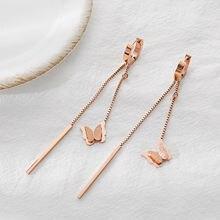Модные элегантные серьги клипсы yun ruo с бабочкой и кисточкой