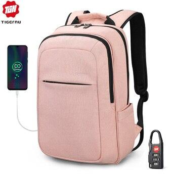 Tigernu, moda para mujeres, 15,6 pulgadas, mochilas de recarga USB para hombres, Mochila antirrobo para niñas, Mochila para ordenador portátil, Mochila escolar para adolescentes