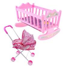 Simulation Kinderwagen Spielzeug w/Baby Puppe Kinderwagen und Bett Wiege Kinder Pflege Zimmer Spielen Zubehör