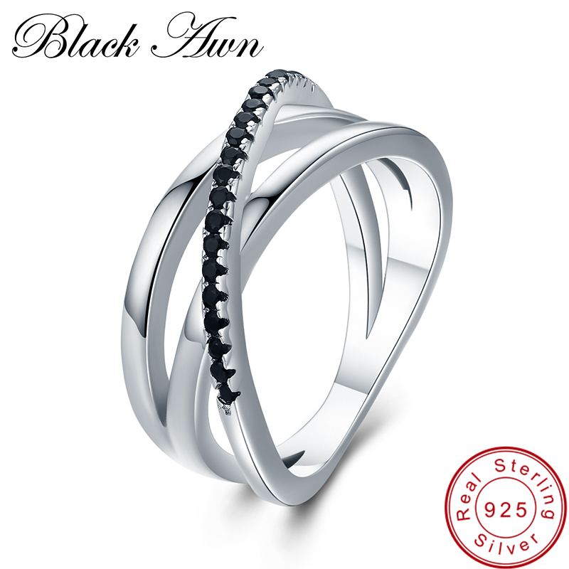 [BLACK AWN] Vintage 3.9g 925 Sterling Silver Fine Jewelry Bague Row Black Spinel Wedding Rings For Women G006
