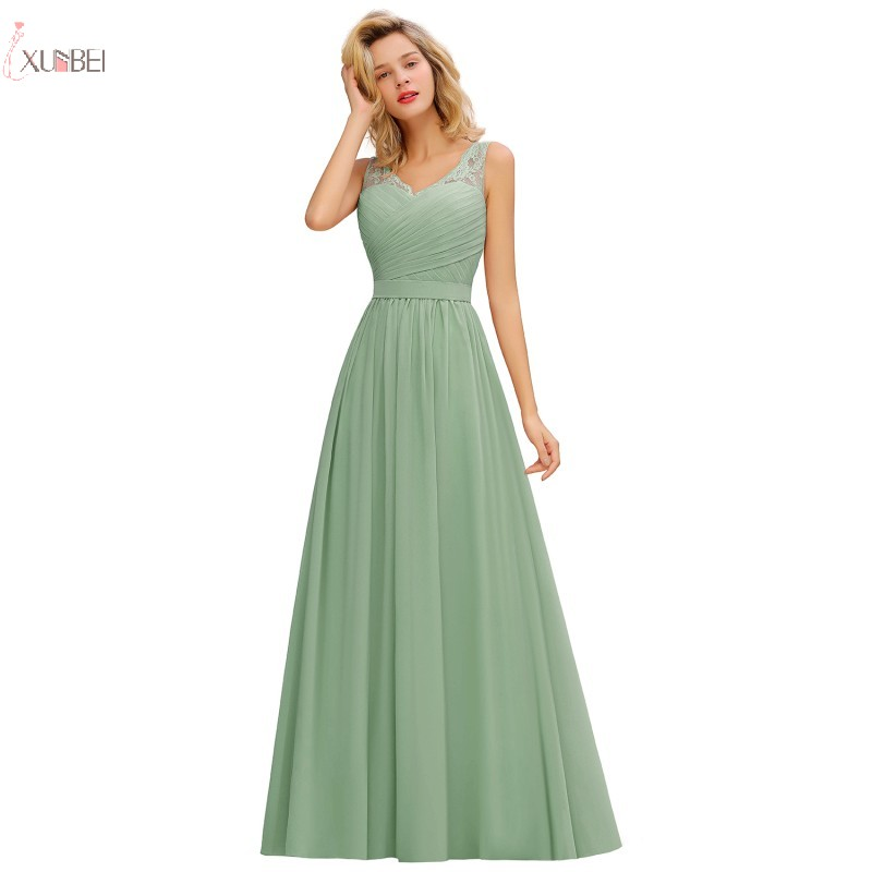 Long Mint Green Chiffon Bridesmaid Dresses A Line Sleeveless Wedding Guest Party Gown 2020 Elegant Robe Demoiselle D'honneur