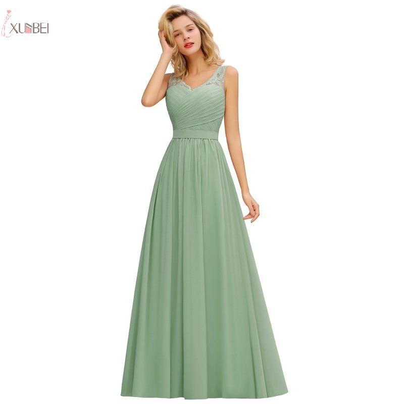 Long Mint Green Chiffon Bridesmaid Dresses A Line Sleeveless Wedding Guest Party Gown 2020 Elegant Robe Demoiselle D'honneur