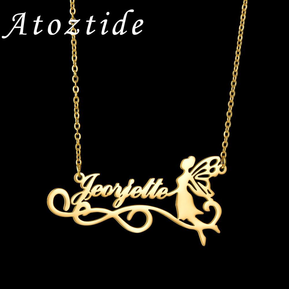 Atoztide персонализированное модное ожерелье Феи из нержавеющей стали с именем красота кулон Ангел для Collier Femme ювелирные изделия рождественск...
