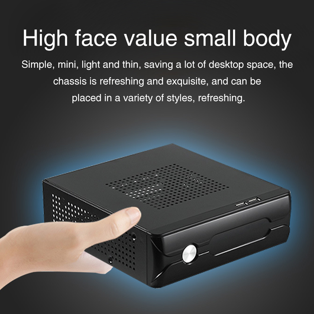 Desktop Power Supply Gaming HTPC Host Office Home 2.0 USB Mini ITX With Radiator Hole Computer Case Practical Horizontal Chassis