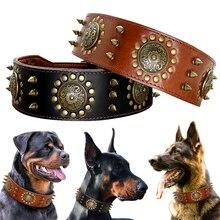 レザーラージ犬の首輪ピットブルスパイク首輪中大ビッグ犬の本革耐久性のあるペット襟ブラウン