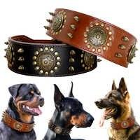 Grand collier de chien en cuir Pitbull colliers cloutés à pointes pour les grands grands chiens moyens en cuir véritable collier pour animaux de compagnie résistant marron