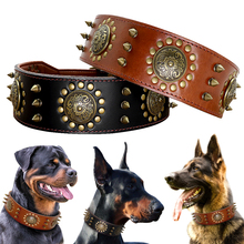 Leather Large Dog Collar Pitbull Spiked Studded Collars for Medium Large Big Dogs Genuine Leather Durable Pet Collar Brown