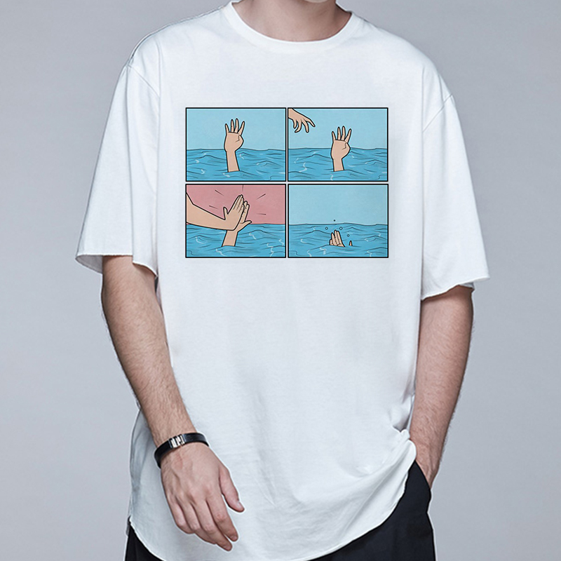 Casual Simple Men Short Sleeve T Shirt Simple Comic Style Novelty Print Loose Men Tops Tees Art Socks Funny T Shirt Men Shirt