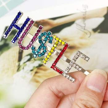 Muti-color Hu$tyle Letters Crystal Hairpins Shiny Rhinestones Hair Clips Metal Barrettes Hair Styling Accessories For Women image