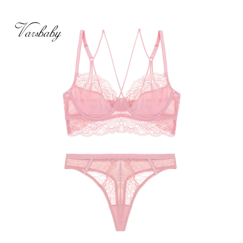 Varsbaby Sexy Deep V Unlined Hollow Underwear 3/4 Cup Floral Lace Bras And Thongs Set For Women