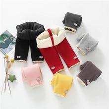 Зимние штаны для малышей; вельветовые плотные теплые трикотажные брюки для маленьких девочек; эластичные леггинсы длиной до щиколотки с рисунком для новорожденных; одежда
