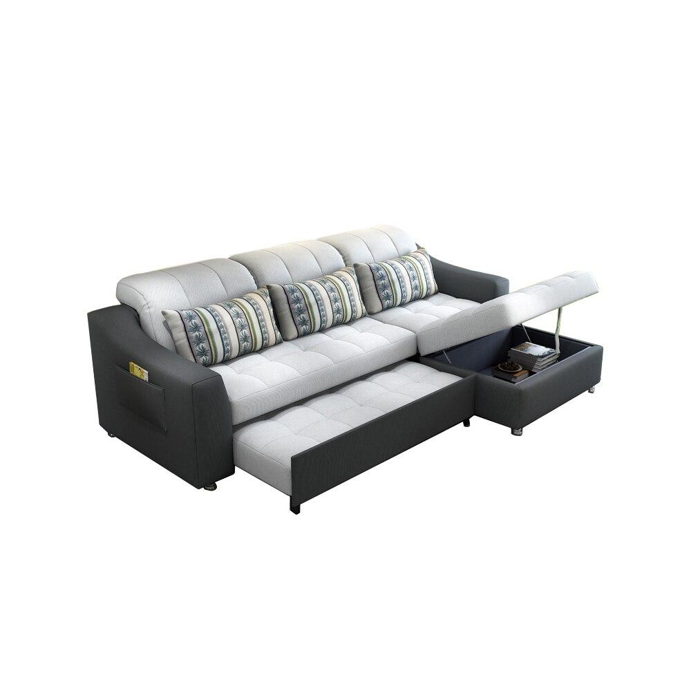 US $759.05 5% di SCONTO|Divano in tessuto letto con stoccaggio soggiorno  mobili divano/soggiorno divano di stoffa letto ad angolo divano moderno e  ...