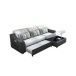 Sofá cama de tecido com armazenamento sala de estar móveis sofá/sala de estar pano sofá cama secional canto moderno funcional encosto de cabeça